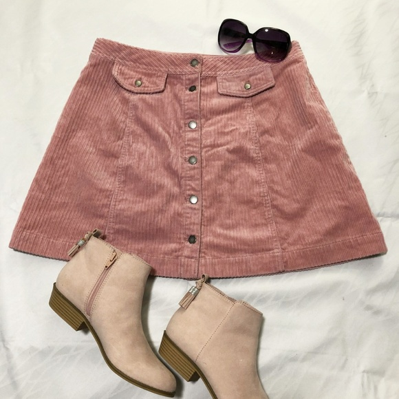 Divided corduroy button front mini skirt
